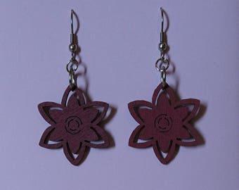 Wood Flower Earrings