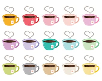 Heart Steam Tea Mug Cip Art Set | Cute Pastel Valentine Love Coffee Cup Graphic | Digital Illustration Icons | Personal or Commercial Use