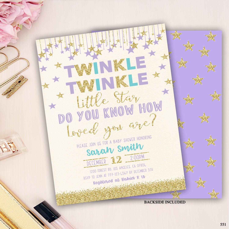twinkle twinkle little star baby shower invitation, girl baby shower invite, twinkle twinkle little star baby shower, purple and turquoise