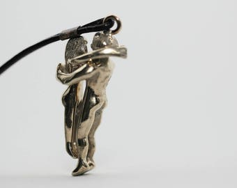 Embrace Bronze Mini Sculpture Keychain