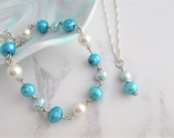 Hues of Blue Freshwater Pearl Jewellery Set, (Bracelet and Necklace) With 16 Inch Silver Plated Chain and Findings, June Birthstone, Gift