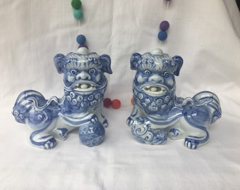 Pair Blue and White Foo Dogs