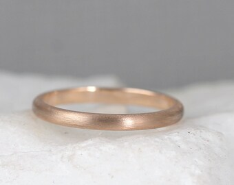 2mm 14K Rose Gold Wedding Band – Men's or Ladies Wedding Rings – Matte Finish – Pink Gold – Commitment Rings – Classic Rounded Bands