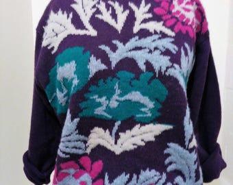 Vintage Sweater, Printed Sweater, Purple Sweater, 80s Sweater, Purple Floral Print Sweater, 80s Floral Sweater, Vintage Printed Sweater