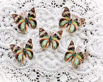 Reneabouquets Tiny Treasures Handcrafted Butterfly Set-  Chasing Butterflies Premium Paper Glitter Glass Butterflies