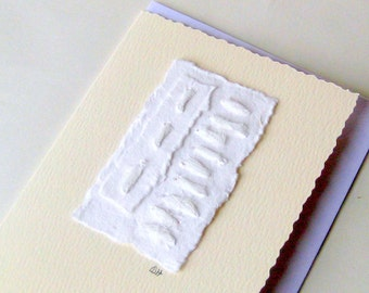 Card muslin stitched white on white recycled blank