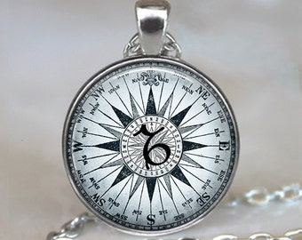 Compass Zodiac Capricorn necklace, Capricorn pendant Zodiac necklace Zodiac jewelry astrology jewelry key chain keychain key ring key fob