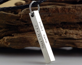 Personalized hand stamped bar necklace, 4 sided bar pendant, gift for dad, gift for boyfriend