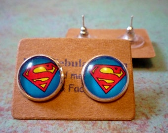 Superman Earrings, Superman jewelry, cabochon earrings, Superhero earrings, dc earrings, blue superman earrings, superhero jewelry, super