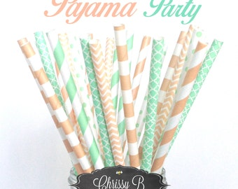 Peach and Mint Paper Straws (PAJAMA PARTY Theme) Pack of 25 Straws  - Peach, Mint, Rugby Stripe, Chevron - Birthday Party, Slumber Party
