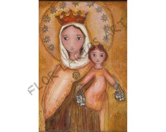 Our Lady of Carmel -  Giclee print mounted on Wood (6 x 8 inches) Folk Art  by FLOR LARIOS