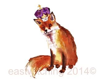 Fox Print, fox painting, fox watercolor, nursery animal art, baby boy gift, fox, whimsical fox