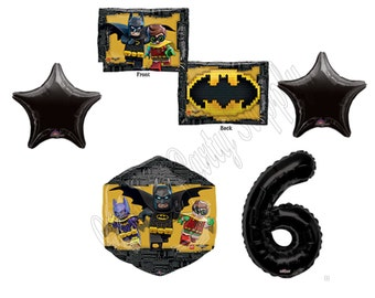 6th BATMAN LEGO MOVIE Birthday Balloons Decoration Supplies Party Boy Sixth