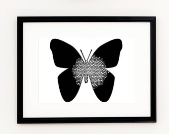 BUTTERFLY WALL ART > Butterfly Print, Butterfly Poster, Black and white Butterfly, Printable Wall decor, Scandinavian art, Printable poster