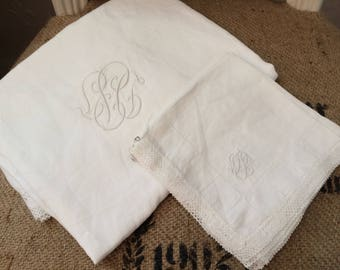 Vintage monogrammed white cotton tablecloth, crochet-edge tablecloth and set of 5 napkins