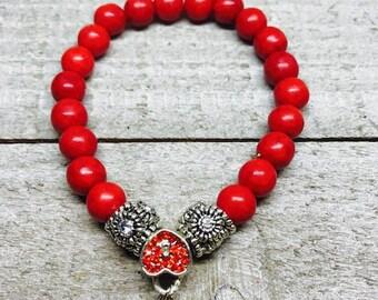 Red elastic bracelet, stretch bracelet, Red heart charm, Bracelet, Elastic bracelet, Red beads,