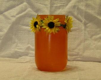 Orange Sunflower Jar