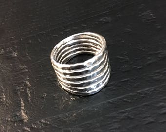 Silver Stacked Ring - Six Bands in One