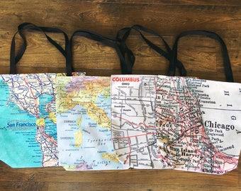 Custom Map Tote - Custom Map Bag - Travel Tote Bag - Wanderlust Bag - Wanderlust Tote - Custom Travel Tote - Custom Wanderlust Tote Bag