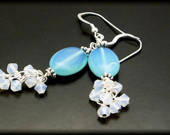 APRIL RAIN ~ Blue Opalite, Swarovski Crystals, Sterling Silver Earrings