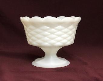 Milk Glass Compote   Basket Weave Pattern
