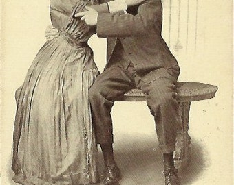 "Antique Postcard ""He told her that he loved her..."" Early 1900s Romantic / Romance Card"