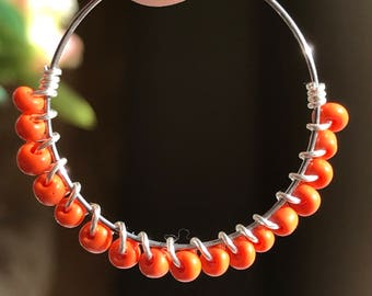 Orange Boho Wrapped Beaded Hoops
