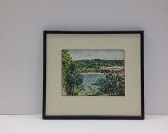 Vintage Watercolour, Tropical, Resort, Palm Trees, Harbour, Vintage Landscape, Original Painting, Vintage Frame, 40's decor.