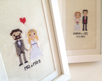 Custom Wedding Cross Stitch Portrait in Pixel Art Style (White - Framed)
