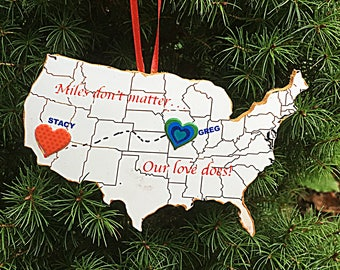 BFF Sweetheart Valentine  Ornament /Magnet Personalized Long Distance Handcrafted Wood Gift for Best Friend Sister Fiancee Roommate, US Map,