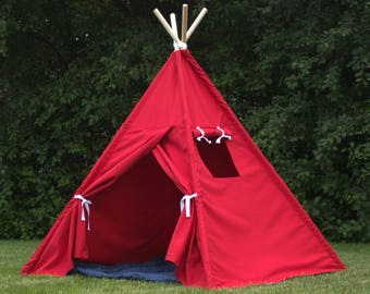 Canvas Kids Teepee Tent Available in 2 Sizes, 10 COLORS, Includes Window, Childrens Tee Pee, Kids Gift,  Ships FULLY ASSEMBLED