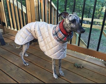 Whippet waterproof winter coats with a long fleece neck.