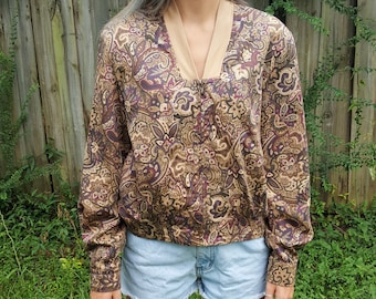 Vintage Floral Windbreaker - Haley 1980s 1990s - Coat Track Jacket Sweat Suit Bomber Mom Jacket Athletic Wear 100% Cotton