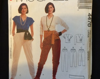McCalls 4476 Misses top, pants and sash pattern