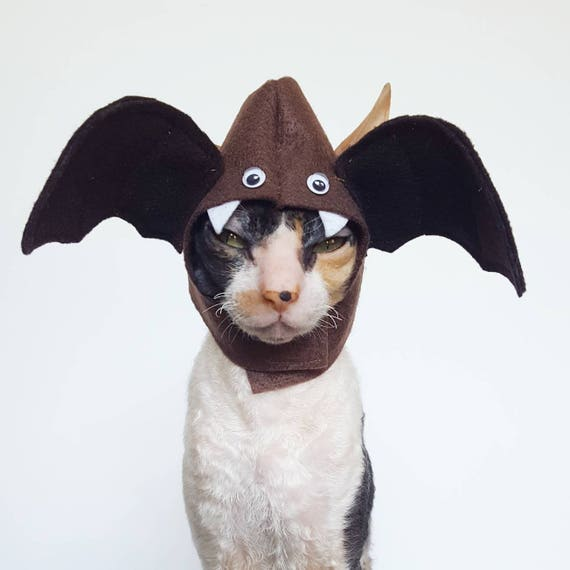 & Boo Bat Cat Dog and small pet hat costume made with brown felt