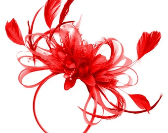 Red Hoop Feathers Fascinator on Headband Ascot Wedding