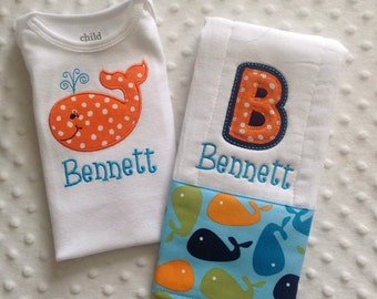 Baby Boy Personalized Gift Set - Bodysuit and Burp Cloth, Aqua Whale