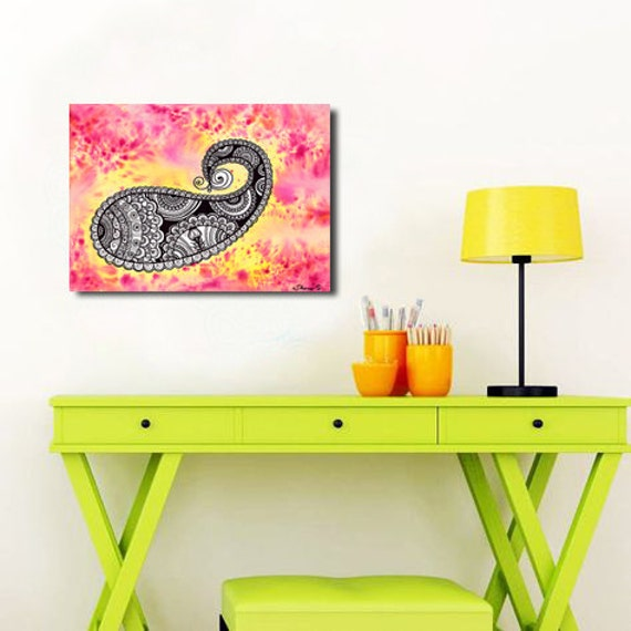 Paisley Abstract Painting INSTANT DOWNLOAD Art Girl Kids