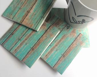 Turquoise Distressed Wood Coasters - Turquoise Home Decor - Drink Coasters - Tile Coasters - Ceramic Coasters - Table Coasters