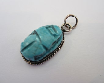 Turquoise Silver Pendant, Vintage Silver, Oval Silver Pendant