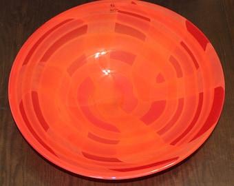 Vintage Glass Nuvo, Large Orange Handcrafted Decorative Bowl