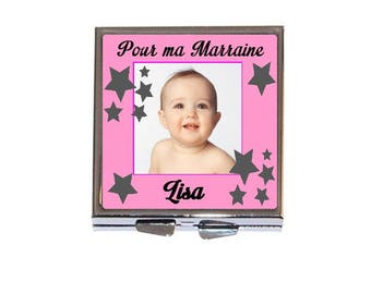 Personalized Pocket mirror, baby baptism with photo and choose pink or blue text