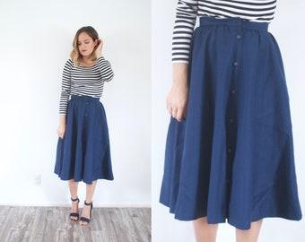 Vintage 1950's full skirt // summer XS blue skirt // retro full skirt // modest skirt // 60's skirt // button midi skirt / boho spring skirt