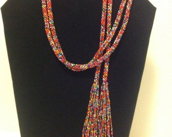 Seed bead necklace crocheted