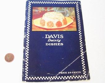 1932 Cookbook Davis Dainty Dishes by Davis Gelatine Canada Booklet