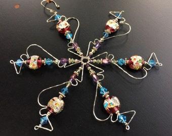 Sky Blue Crystal Snowflake Ornament, Christmas Gift, Solstice Gift, Silver Snowflake Christmas Ornament, Blue Snowflake