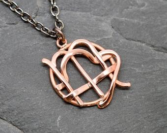 Virgo libra zodiac necklace in polished copper