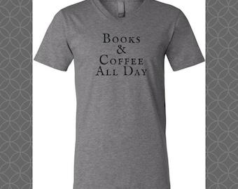 Books & Coffee All Day Tee