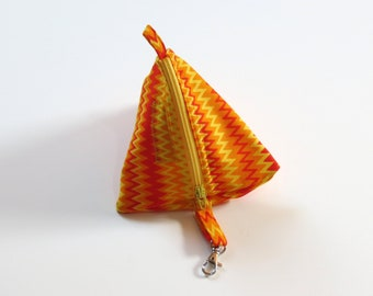 Zip Triangle Pouch - Yellow Orange ZigZag - with clip
