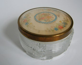 Antique Gold Floral Dresser Jar, Dresser Jar, Vintage Vanity, Vanity Jar, Pink Bathroom, Pin Up, Vintage Prop, Vintage Jar, Screwtop